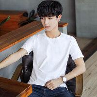 夏装男士圆领短袖T恤韩版修身潮流男装短袖纯色体恤青年夏天衣服