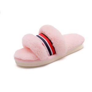 O'SHELL法国欧希尔新品冬季113-M80580韩版混合材质平跟女士毛拖鞋