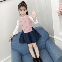女童秋装时髦洋气套装中小童毛衣马甲牛仔裙子女孩三件套