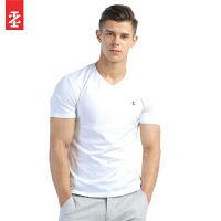 IZOD男士夏季新品棉质V领纯色短袖T恤 银泰