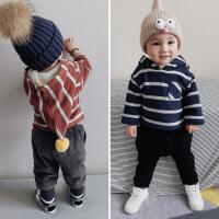 男童加厚卫衣冬装新款小孩宝宝连帽毛球上衣儿童保暖绒衣条纹衣服