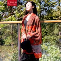 上海故事春夏季新款韩国春秋时尚气质女款 超大丝巾印花围巾保暖披肩两用