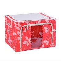 普润 44L红色 牛津布钢架百纳箱 整理收纳箱 红色树叶 单视 双开门
