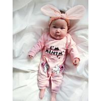 婴儿连体衣服新生儿宝宝长袖1岁3个月6季1春装哈衣冬季新年