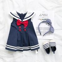 2018女童连衣裙夏季女宝宝海军风裙子婴儿背心裙0-1-2-3岁 藏蓝色裙子