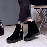 彼艾2017秋冬新款低筒短靴厚底坡跟休闲内增高女靴牛翻皮女士靴子
