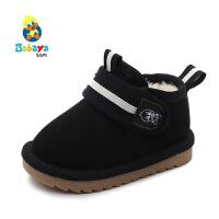 【2.5折价50.75元】芭芭鸭儿童雪地靴男童短靴女童棉靴子2019新款加绒宝宝冬季鞋保暖