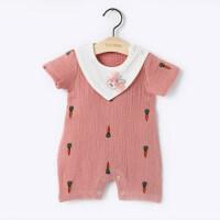 爬爬服婴儿夏女宝宝夏装衣服夏季女0-6个月3宝宝连体衣六短袖三