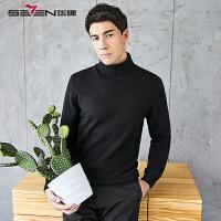 柒牌黑色高领毛衣 2017秋冬新款韩版修身打底针织衫纯色羊毛衫男
