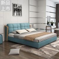 ��s�F代北�W��木床1.5米1.8米�p人床主�P大可拆洗布�婚床定制 +乳�z床�|