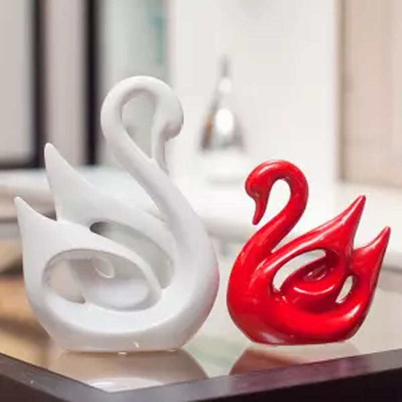 摆件家居饰品酒柜装饰品客厅卧室陶瓷工艺品结婚礼物天鹅摆设