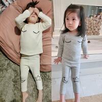 秋冬女童睡衣套装加绒加厚保暖内衣两件套小童宝宝居家服