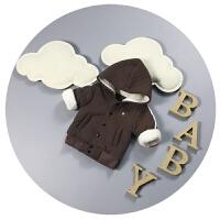 婴儿冬装0-1-2岁男女宝宝棉袄卫衣加绒加厚儿童开衫3-6个月潮