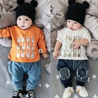 0-3-5-6-9-12个月婴儿上衣春秋宝宝T恤衫新生儿长袖全棉打底衣服