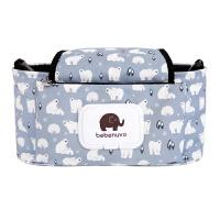 婴儿童推车挂袋挂包 多功能妈咪包母婴包 宝宝外出推车挂包收纳袋 白熊 中号