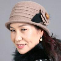 女士全羊毛呢中老年人帽子 新款时尚花朵礼帽女保暖盆帽户外妈妈帽子