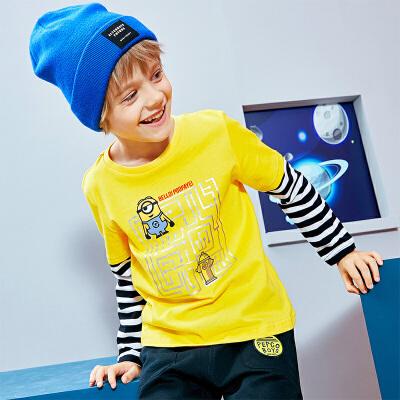 小猪班纳童装男童长袖t恤春秋新款儿童条纹上衣棉