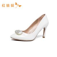 红蜻蜓女鞋高跟鞋少女尖头细跟性感百搭职业工作女单鞋