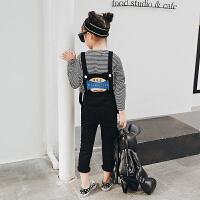 女童牛仔背带裤 秋装2017新款童装裤子 儿童休闲弹性肩带背带长裤