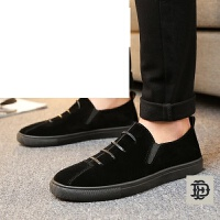 男士帆布鞋透气布鞋夏季韩版休闲鞋潮鞋板鞋一脚蹬懒人反绒皮乐福鞋男鞋