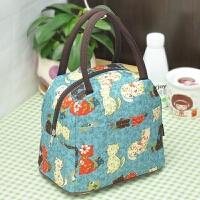 新款防水帆布包袋女包手提布包牛津布饭盒包手拎小布包便当包包小 乳白色 青色小猫