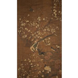 C810 陈琳《雉鸡梅花图》(王仁堪、王文治二人提边拔,并有多位名家收藏章。)