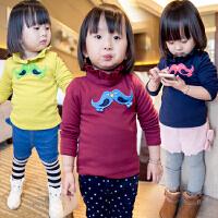 *童装儿童女童加绒加厚打底衫绒衫2018春冬宝宝保暖衣A051