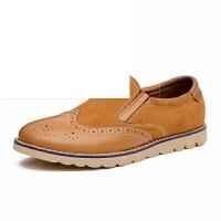 男鞋秋季新款英伦复古反绒皮布洛克休闲鞋透气低帮鞋子男鞋