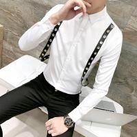 薄夜店酒吧潮个性皮带装饰衬衫韩版修身美发型师青年村衣免烫男士
