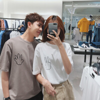 情侣装夏装新品韩版宽松简约手指印花短袖潮流T恤男女