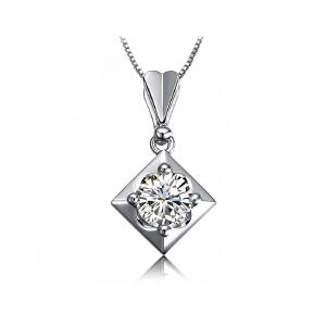 梦 梵雅  钻石吊坠  南非真钻50分吊坠18k金镶嵌带证书送925纯银项链