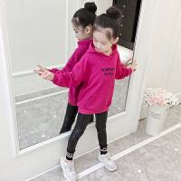 儿童韩版休闲带帽套头上衣小女孩冬季潮童装冬装女童卫衣加绒