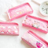 广博卡通笔盒小学生笔袋女大容量铅笔盒学生用品 颜色随机单个装凯 蒂猫KT85012