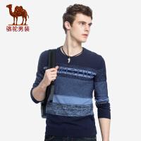 骆驼男装 秋季新款套头圆领青年时尚修身撞色休闲长袖毛衣男