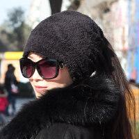 帽子女韩版百搭包头帽保暖户外骑车帽两用围脖羊羔绒头巾帽