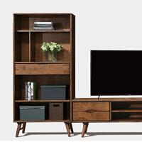 实木书架置物架组合柜子橡胶木实木多层落地储物架17BK80 1780 0.8-1米宽