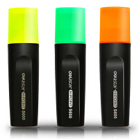 得力deli荧光笔三色标记醒目记号笔(橙+绿+黄)3支/卡33208