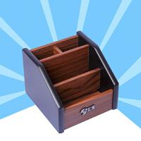 汇星创意时尚木质笔筒办公桌面多功能摆件笔座组合名片收纳盒