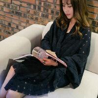 韩版学生仿羊绒两用长款保暖围巾时尚百搭破洞纯色女士围巾