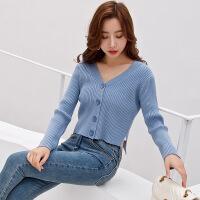 针织衫 女士V领长袖短款针织衫2019秋季新款韩版时尚女式洋气外套女装毛衣