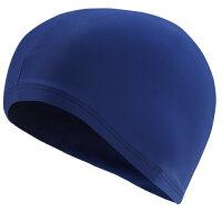泳帽女 长发时尚可爱印花纯色儿童大号舒适游泳装备 男游泳帽 6215 蓝色