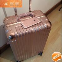 铝框拉杆箱万向轮20旅行箱24寸学生行李箱26/28商务箱登机箱男女 玫瑰金 时尚铝框款