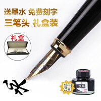 永生书法钢笔学生用三笔头*礼盒装成人弯头墨水美工笔定制刻字