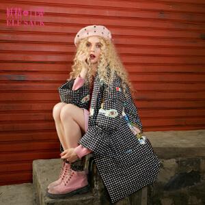 妖精的口袋抽象艺术家冬装新款印花喇叭袖长款羽绒服女