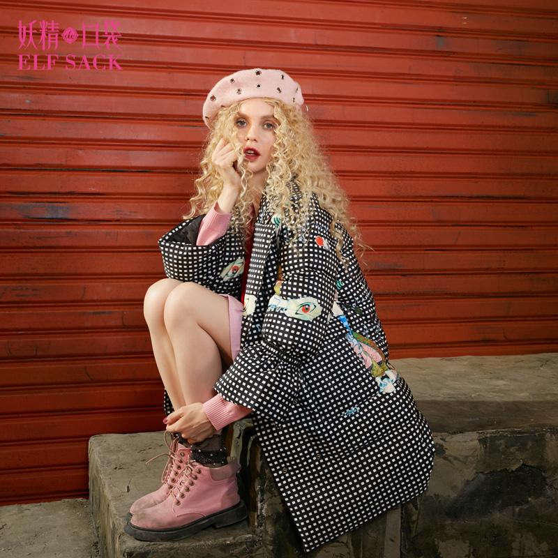 【1件5折 叠加50元优惠券 支持礼品卡】妖精的口袋W抽象艺术家冬装2017新款印花喇叭袖长款羽绒服女