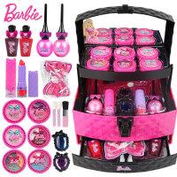 芭比儿童化妆品公主彩妆盒套装小女孩手提箱娃娃玩具生日礼物无毒