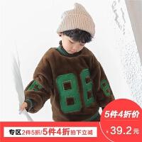 童装男童毛绒外套2017冬季新款韩版儿童加绒卫衣冬装套头加厚潮