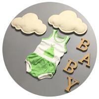 婴儿夏装男宝宝背心套装纯棉超薄款6新生儿无袖短裤两件套0-1-2岁