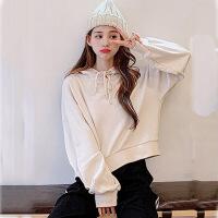 卫衣 女士宽松薄款连帽上衣套头衫2020春秋新款女式韩版慵懒风长袖短款外套