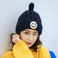 可爱毛线帽帽子女韩版潮学生百搭加绒加厚保暖尖尖帽针织